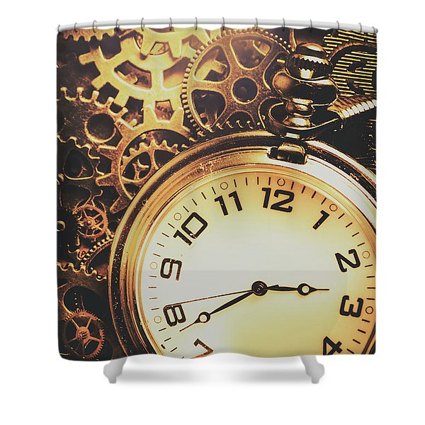 Gears Of Time Travel Shower Curtain