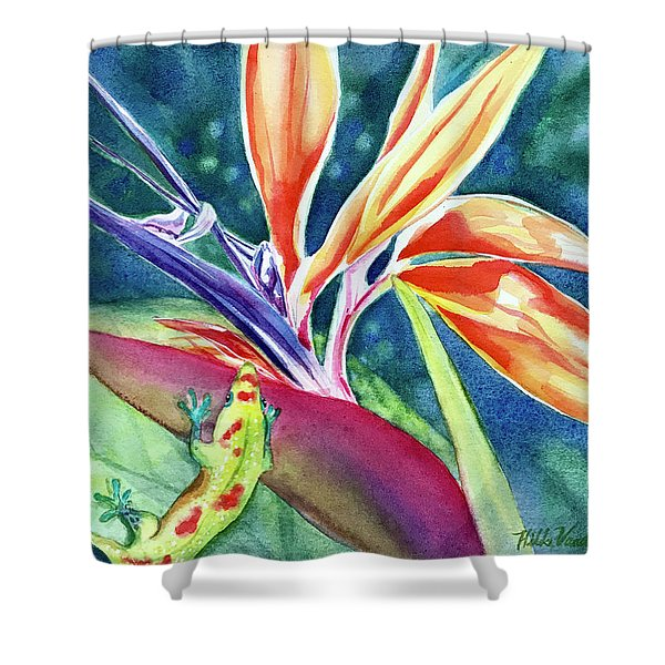 Gecko On Bird Of Paradise Shower Curtain