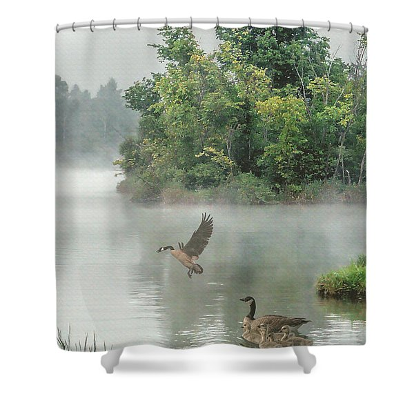 Geese On Misty Lake Shower Curtain