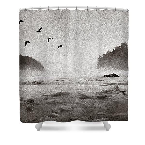 Shower Curtain featuring the photograph Geese Over Great Bay by Wayne King
