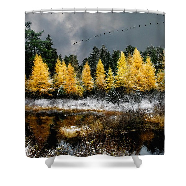 Geese Over Tamarack Shower Curtain
