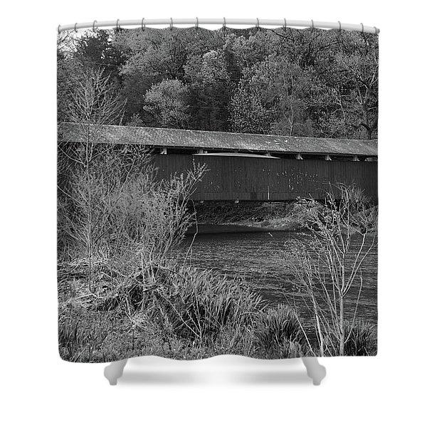 Geiger Covered Bridge B/w Shower Curtain