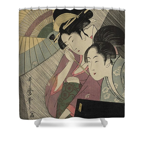 Geisha And Attendant On A Rainy Night Shower Curtain