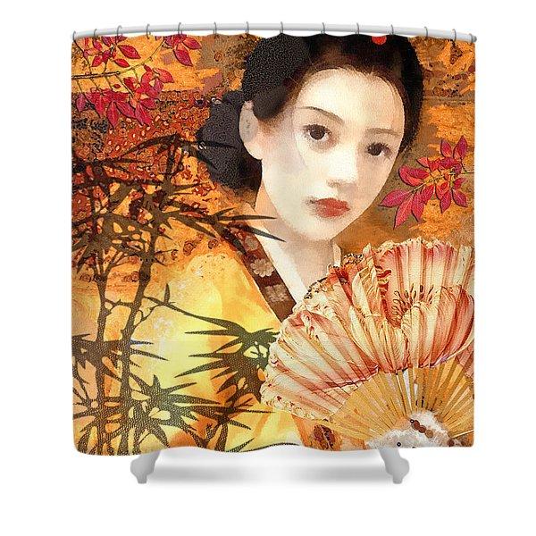 Geisha With Fan Shower Curtain