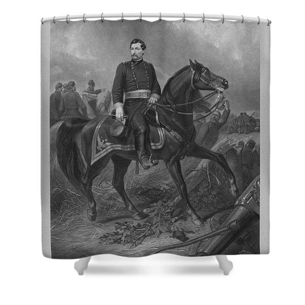General George Mcclellan On Horseback Shower Curtain by War Is Hell Store