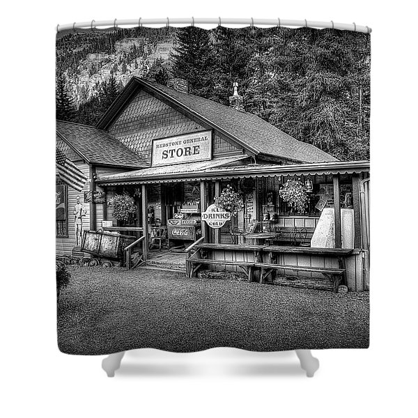 General Store Black And White Shower Curtain
