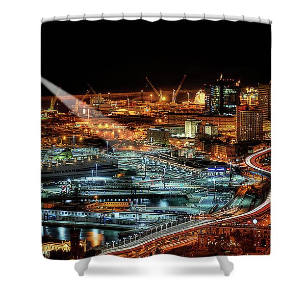 Genoa And The Lighthouse By Night - Genova E La Sua Lanterna  Shower Curtain