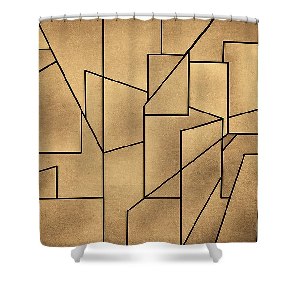 Geometric Abstraction IIi Toned Shower Curtain