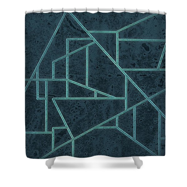 Geometric Abstraction In Blue Shower Curtain