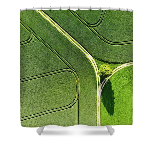 Geometric Landscape 05 Tree And Green Fields Aerial View Shower Curtain