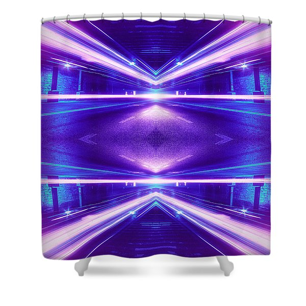 Geometric Street Night Light Pink Purple Neon Edition  Shower Curtain
