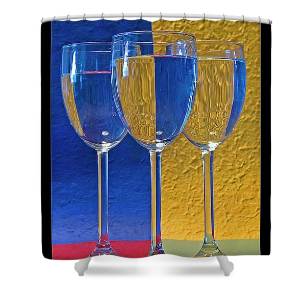 Geometrical Shapes, Colours And Glasses Shower Curtain