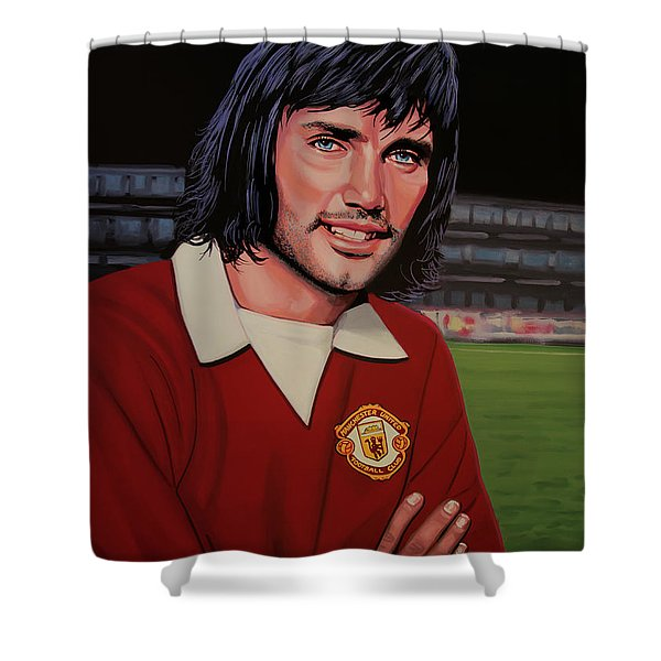 George Best Painting Shower Curtain