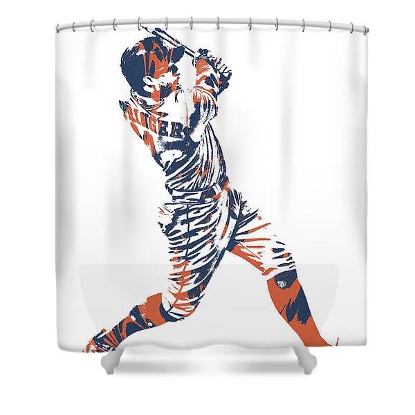 George Springer Houston Astros Pixel Art 11 Shower Curtain