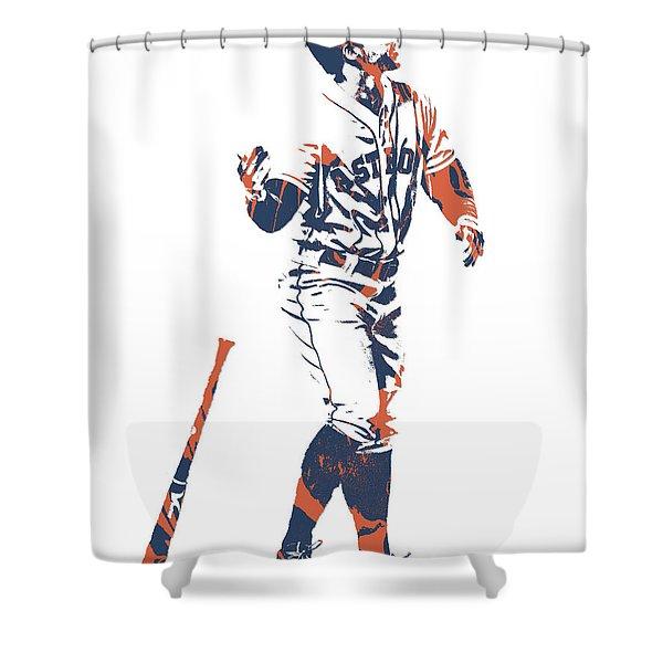 George Springer Houston Astros Pixel Art 12 Shower Curtain