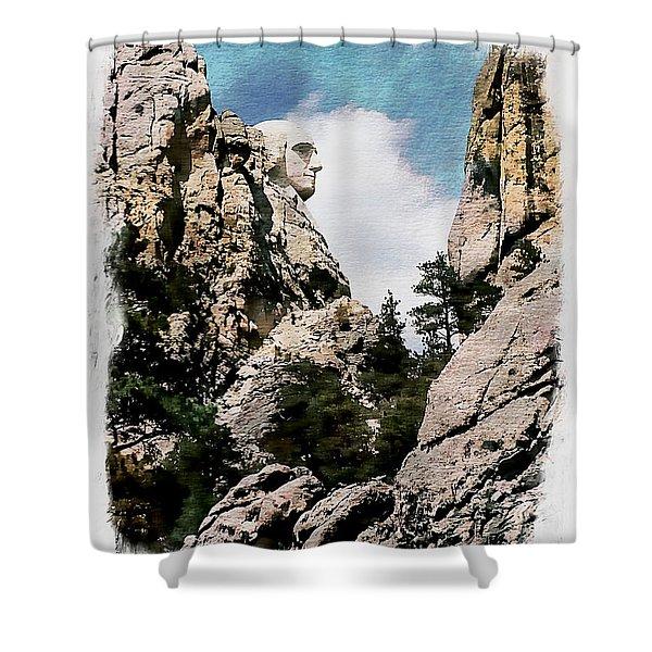 George Washington Profile - Mount Rushmore Shower Curtain