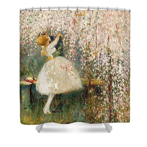 Georges Picard French 1857 1946 Romance Under The Blossom Tree Shower Curtain