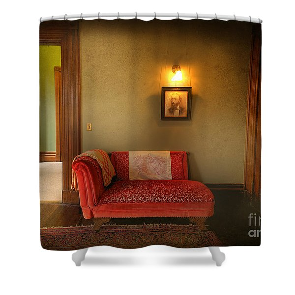 George's Red Sofa Shower Curtain