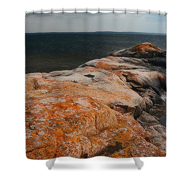 Georgian Bay Rocks Lichen-3675 Shower Curtain