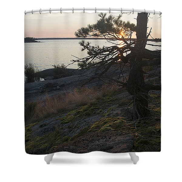 Georgian Bay Sunrise-moss 4253 Shower Curtain