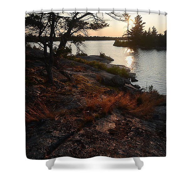 Georgian Bay Rock-wild Grass At Sunset Shower Curtain