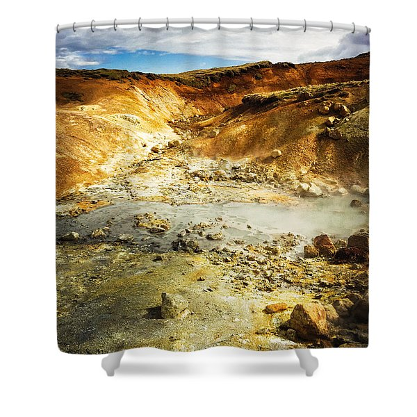 Geothermal Area In Reykjanes Iceland Shower Curtain