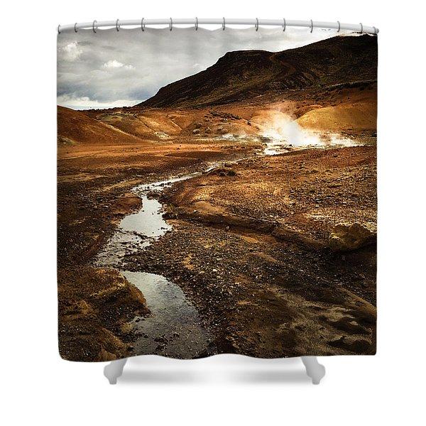Geothermal Area Krysuvik In Iceland Shower Curtain