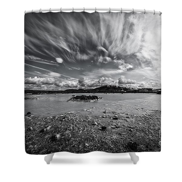 Geothermal Pool In Iceland Bw Shower Curtain