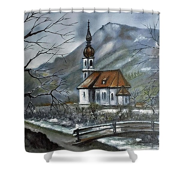 German Church At Ramsau  Shower Curtain