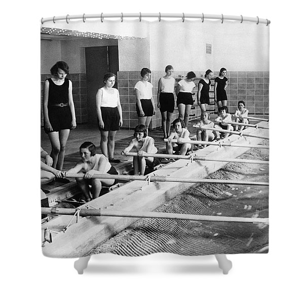 German Girls Learn Rowing Shower Curtain