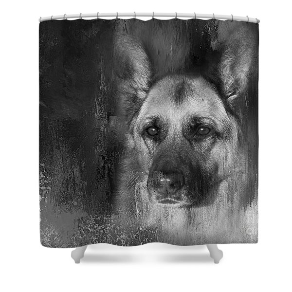 German Shepherd In Black And White Shower Curtain