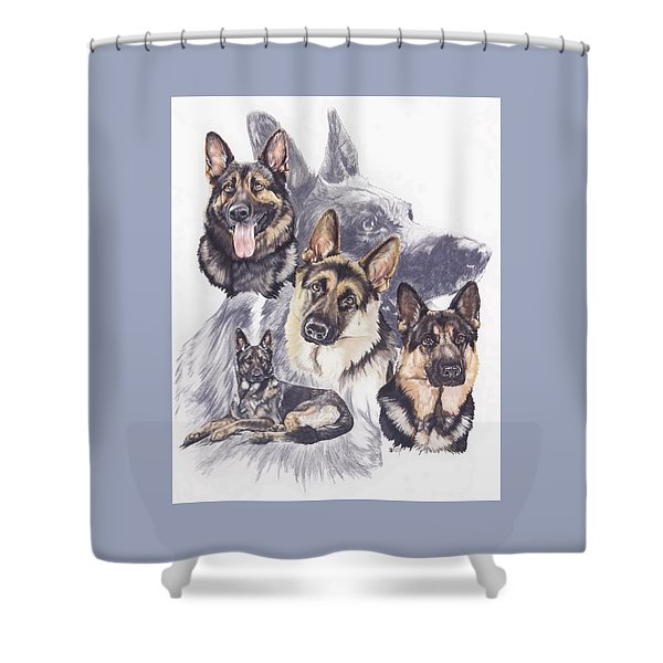 Shower Curtain featuring the mixed media German Shepherd Medley by Barbara Keith