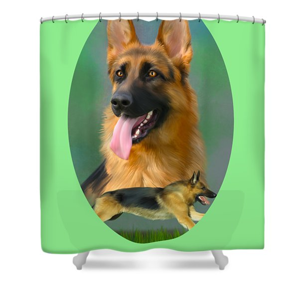 German Shepherd With Name Logo Shower Curtain