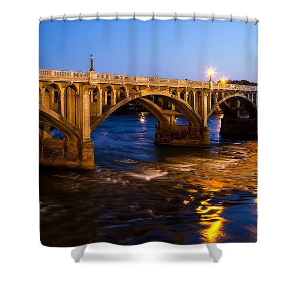Gervais Street Bridge At Twilight Shower Curtain