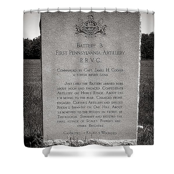 Gettysburg National Park First Pennsylvania Artillery Monument Shower Curtain