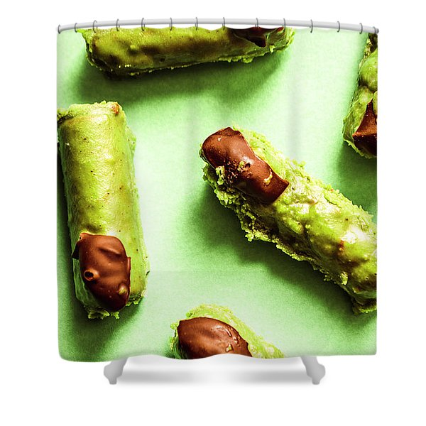 Ghastly Green Halloween Finger Food Shower Curtain