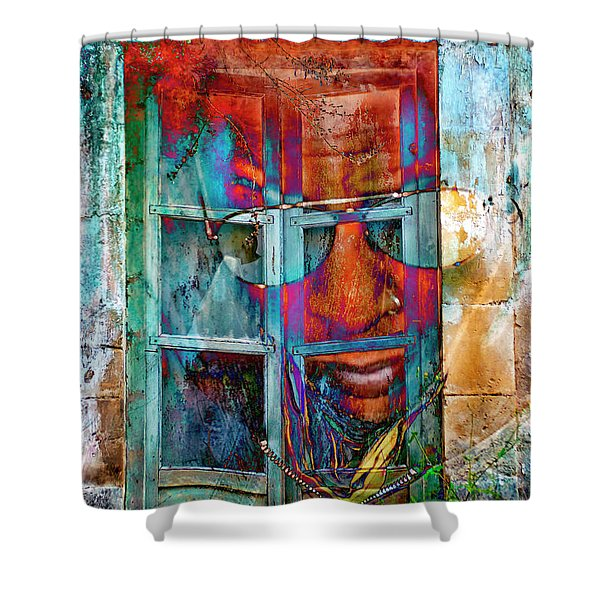 Shower Curtain featuring the digital art Ghost Goes Through Wall by Silva Wischeropp