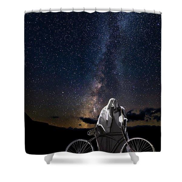 Ghost Rider Under The Milky Way. Shower Curtain