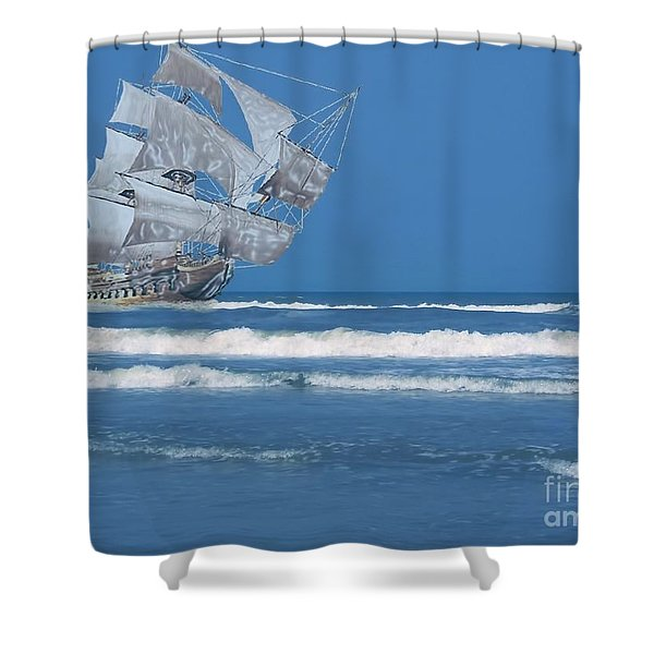 Ghost Ship On The Treasure Coast Shower Curtain