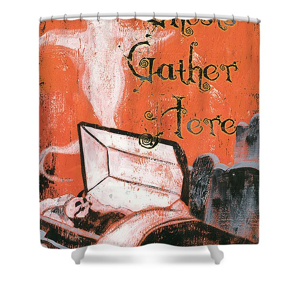 Ghosts Gather Here Shower Curtain