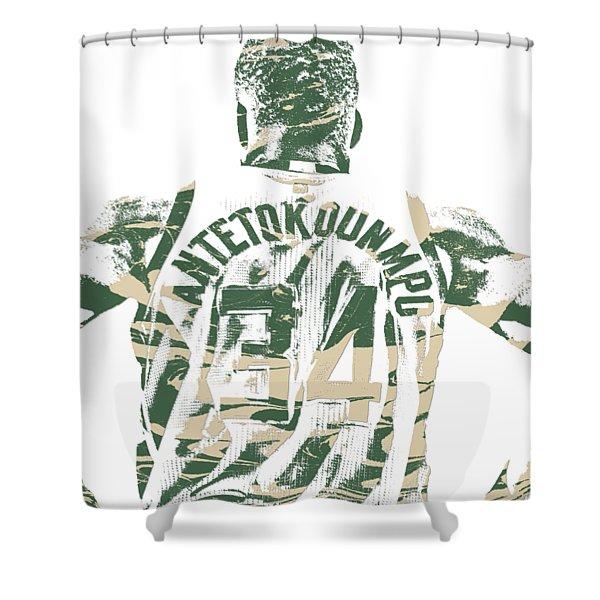Giannis Antetokounmpo Milwaukee Bucks Pixel Art 22 Shower Curtain