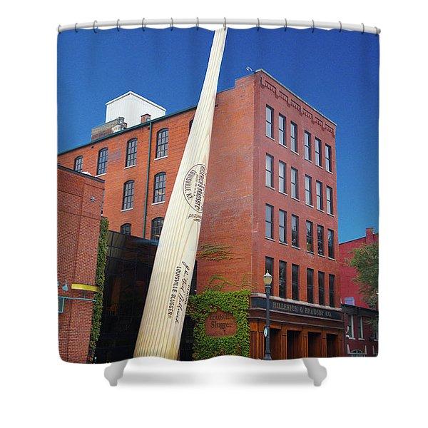 Giant Baseball Bat Adorns Shower Curtain