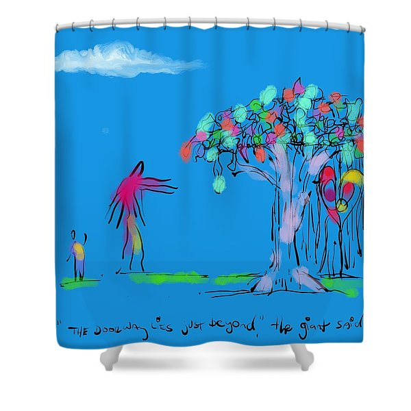Giant, Boy, And Doorway Shower Curtain