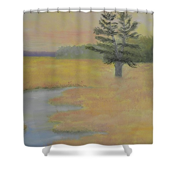 Giant In The Marsh Shower Curtain