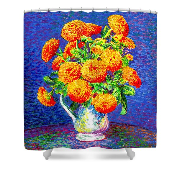 Gift Of Gold, Orange Flowers Shower Curtain