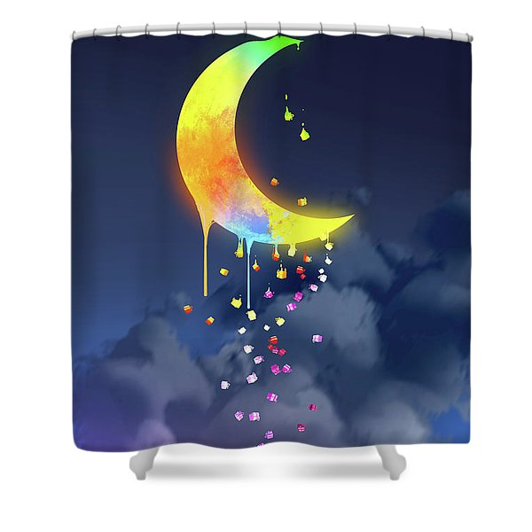 Shower Curtain featuring the painting Gifts From The Moon by Tithi Luadthong