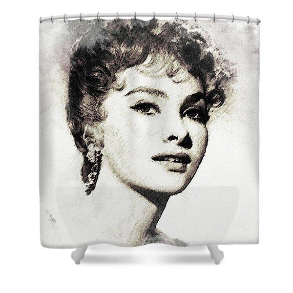 Gina Lollobrigida, Vintage Actress Shower Curtain