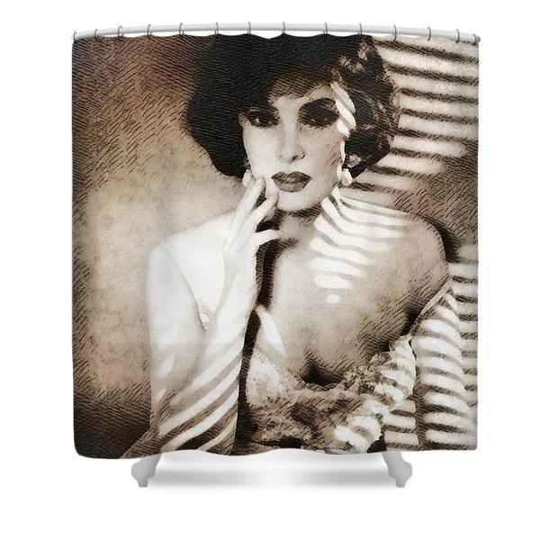 Gina Lollobrigida, Vintage Hollywood Actress Shower Curtain