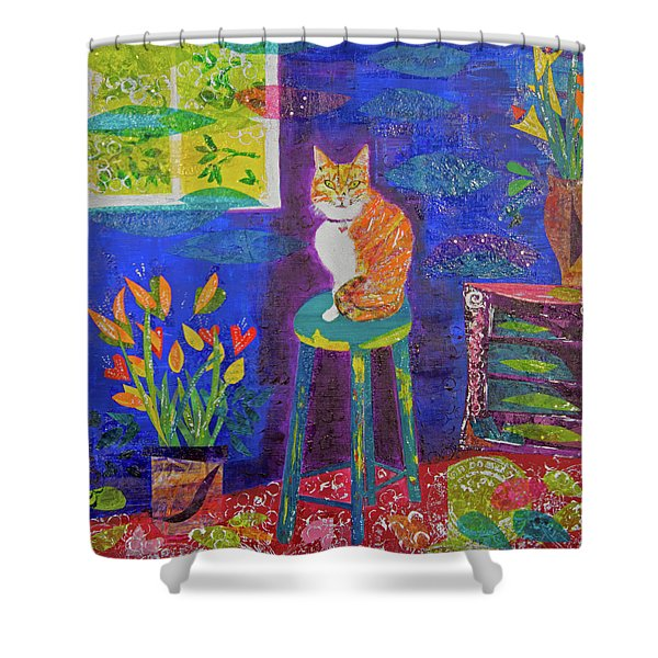 Ginger The Cat Shower Curtain