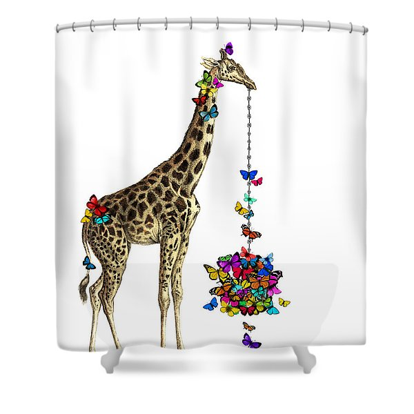 Giraffe With Colorful Rainbow Butterflies Shower Curtain
